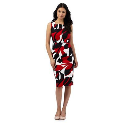 The Collection Petite Red large leaf print dress