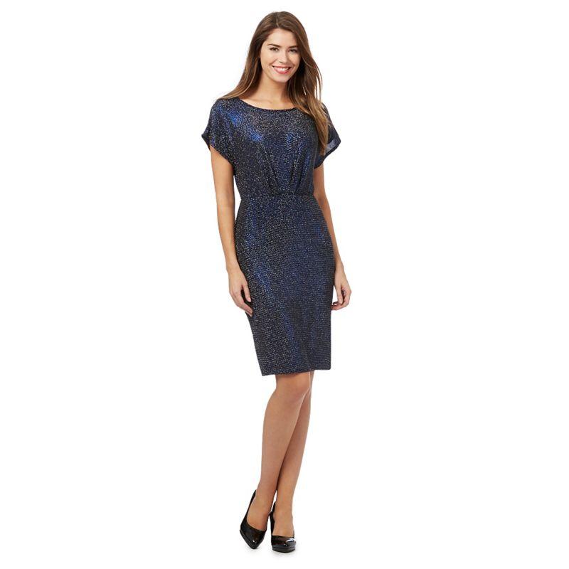 The Collection Petite Blue glitter jersey petite dress