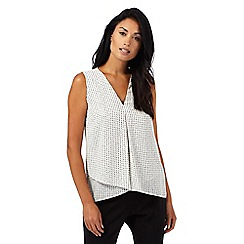 The Collection Petite - Ivory spotted print sleeveless petite top