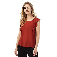 The Collection Petite - Dark orange sleeveless ruffle petite top