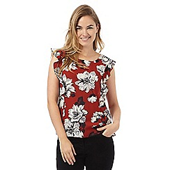 The Collection Petite - Dark orange sleeveless floral ruffle petite top