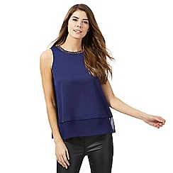 The Collection Petite - Dark blue embellished satin petite top