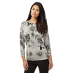 The Collection Petite - Grey floral printed jumper