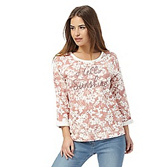 The Collection Petite - Dark pink 'Hello Sunshine' print petite jersey top