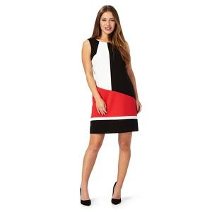 The Collection Petite Black colour block sleeveless midi petite dress