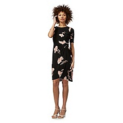 The Collection Petite - Black floral print petite wrap dress