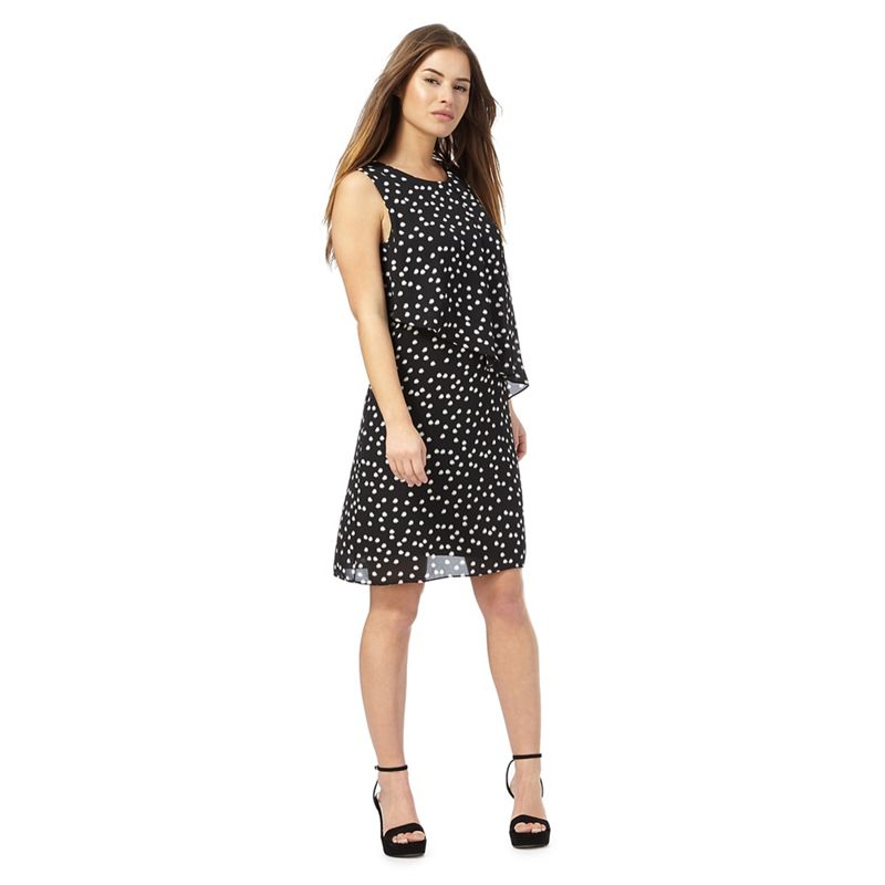 The Collection Petite Black spot print knee length petite