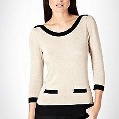 The Collection Petite - Petite beige ribbed colour block trim jumper