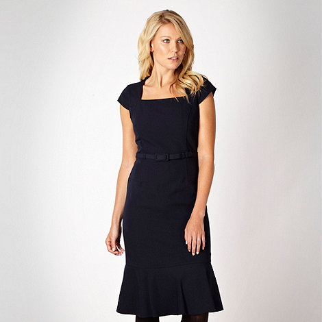 The Collection Petite - Petite navy mid length belted twill dress