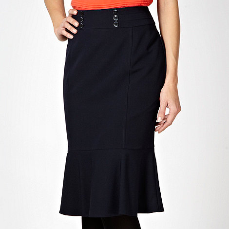 The Collection Petite - Petite navy ruffled hem work skirt