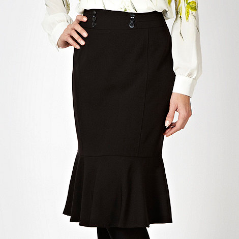 The Collection Petite - Petite black ruffled hem work skirt