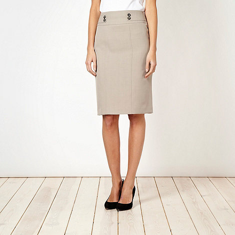 The Collection Petite - Petite taupe crosshatch suit skirt - size 18P