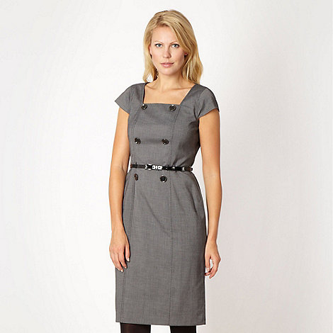 The Collection Petite - Petite grey textured checked dress