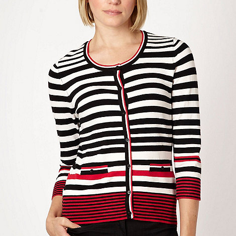 The Collection Petite - Petite red colour block striped stretch cardigan - size 6P