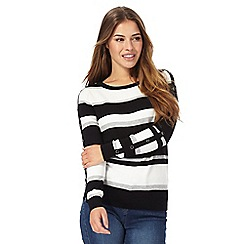 The Collection Petite - Black button sleeve stripe petite jumper