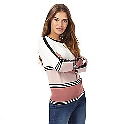 The Collection Petite - Pink and white striped button detail petite jumper