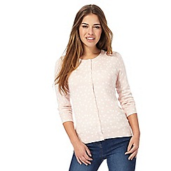 The Collection Petite - Light pink spot print petite cardigan