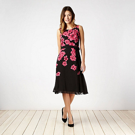The Collection Petite - Petite pink graphic poppy prom dress - size 6P
