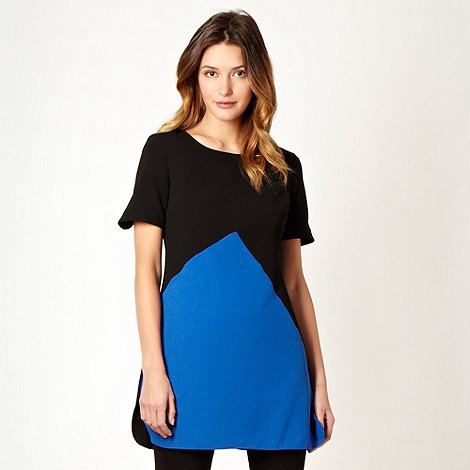 The Collection Petite - Petite black and blue crepe tunic top