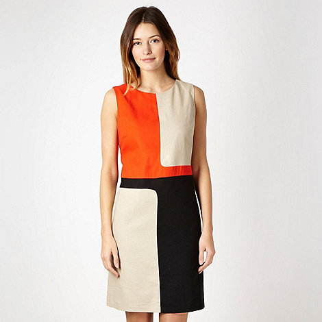 The Collection Petite - Petite orange square colour block linen blend dress