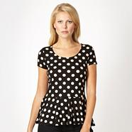 Petite black spotted jersey peplum top