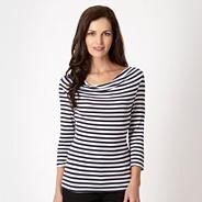 Petite navy striped cowl neck jersey top