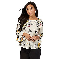 The Collection Petite - Ivory floral print gypsy petite top