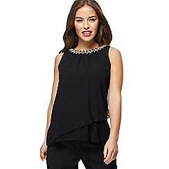 The Collection Petite - Black sleeveless necklace petite top