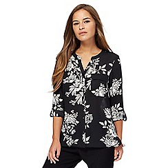The Collection Petite - Black oriental floral print petite utility shirt