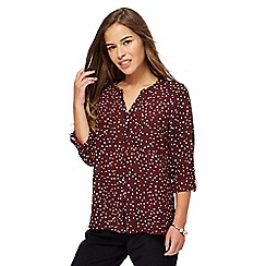 The Collection Petite - Wine red spot print petite utility shirt