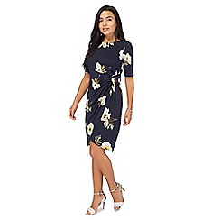 The Collection Petite - Navy floral petite wrap dress