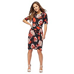 The Collection Petite - Multi-coloured floral print knee length petite wrap dress