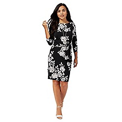 The Collection Petite - Black floral print knee length petite dress