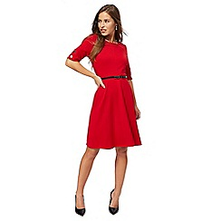 The Collection Petite - Red short sleeves knee length petite skater dress