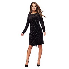 The Collection Petite - Black velvet long sleeves petite dress