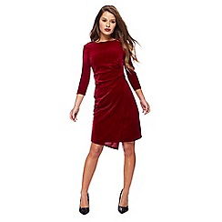 The Collection Petite - Red velvet knee length petite dress