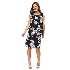 The Collection Petite - Black floral print chiffon knee length petite shift dress
