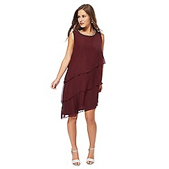 The Collection Petite - Wine red chiffon knee length petite shift dress