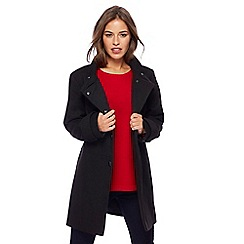 The Collection Petite - Black twill funnel neck petite coat