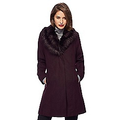 The Collection Petite - Dark purple faux fur collar petite dolly coat