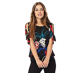 The Collection Petite - Dark blue floral print petite top
