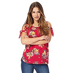The Collection Petite - Pink floral print cold shoulder petite top