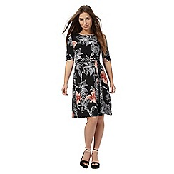 The Collection Petite - Black floral print knee length skater dress