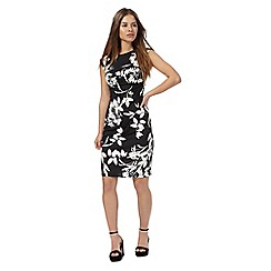 The Collection Petite - Black floral print knee length petite pencil dress