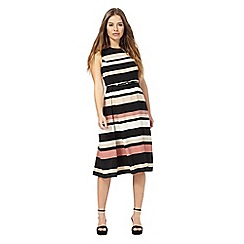 The Collection Petite - Multi-coloured stripe print petite midi skater dress