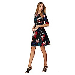 The Collection Petite - Black floral print knee length petite skater dress