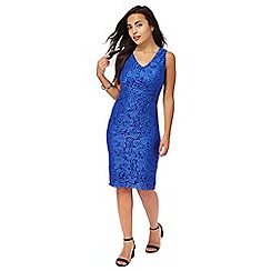 The Collection Petite - Bright blue floral lace petite dress