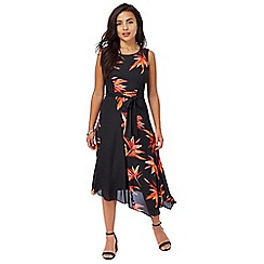 The Collection Petite - Black floral print petite prom dress