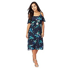 The Collection Petite - Blue floral print cold shoulder knee length shift dress