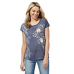 The Collection Petite - Blue floral print petite top